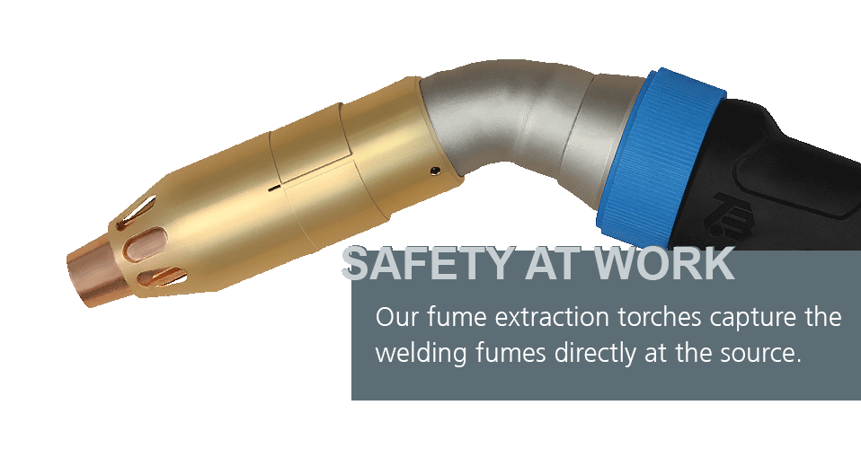 Our fume extraction torches capture the welding fumes directly at the source